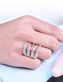 Fashion Silver Color Claw Shape Decorated Pure Color Ring