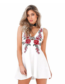 Sexy White Flower Pattern Decorated V Neckline Simple Dress