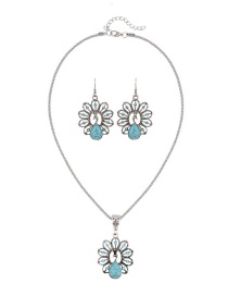Trendy Green Peacock Shape Decorated Pure Color Simple Jewelry Set