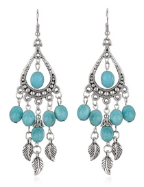 Fashion Green Leaf Decorated Water Drop Shape Pure Color Earrings
