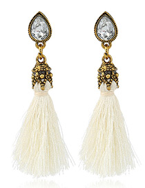 Trendy White Diamond&tassel Decorated Pure Color Simple Earrings