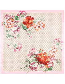 Fashion Light Pink Flowers Pattern Decorated Simple Scarf
