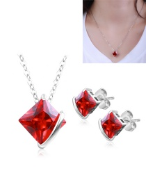 Fashion Red Square Shape Diamond Decorated Jewelry Sets