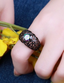 Fashion Gun Black Gemstone Decorated Hollow Out Ring