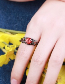 Fashion Red Flower&diamond Decorated Simple Ring