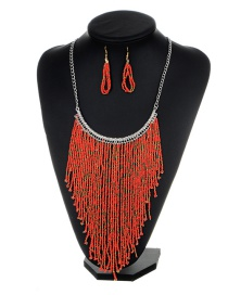 Fashion Red Long Tassel Decorated Pure Color Jewelry Sets