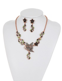 Fashion Green Butterfly&flower Decorated Simple Jewelry Sets