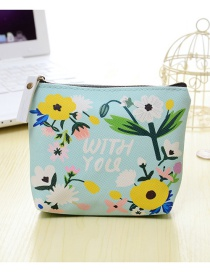Fashion Mutli-color Flower Pattern Decorated Color Matching Simple Wallet