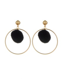 Fashion Black Pompom Ball Decorated Pure Color Simple Earrings