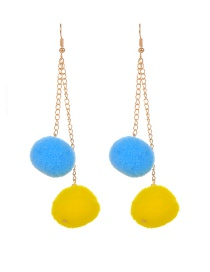 Trendy Blue+yellow Ball Shape Decorated Color Matching Pom Earrings