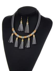 Fashion Gray Tassel Decorated Pure Color Simple Jewelry Set