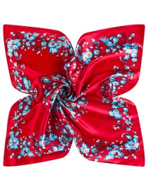 Trendy Red Flower Pattern Decorated Square Shape Simple Scarf