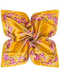 Trendy Yellow Flower Pattern Decorated Square Shape Simple Scarf