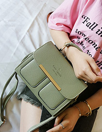 Fashion Green Two Pockets Decorated Bag