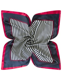 Trendy Black Stripe Pattern Decorated Color Matching Square Scarf