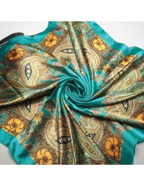 Trendy Lake Blue Flower Pattern Decorated Color Matching Square Scarf
