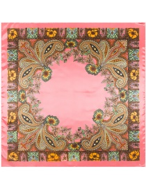 Trendy Pink Flower Pattern Decorated Color Matching Square Scarf