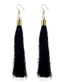Elegant Black Tassel Deocrated Pure Color Simple Earrings