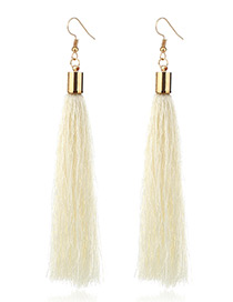 Elegant White Tassel Deocrated Pure Color Simple Earrings
