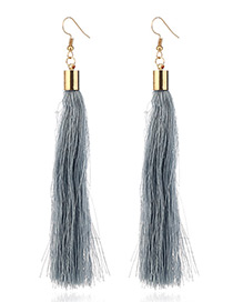 Elegant Gray Tassel Deocrated Pure Color Simple Earrings