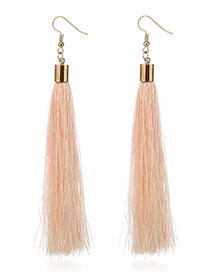 Elegant Champagne Tassel Deocrated Pure Color Simple Earrings