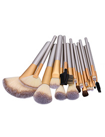 Fashion Champagne Geometry Decorated Color Matching Cosmetic Brush (18pcs)