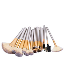 Fashion Champagne Geometry Decorated Color Matching Cosmetic Brush (24pcs)