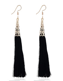 Elegant Black Tassel Decorated Pure Color Simple Earrings