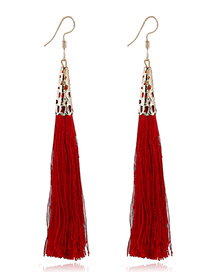 Elegant Red Tassel Decorated Pure Color Simple Earrings