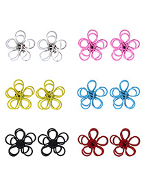 Fashion Multi-color Flower Shape Decorated Color Matching Earrings (12 Pcs)