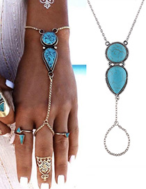 Fashion Blue Water Drop Shape Decorated Pure Color Bracelet