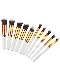 Fashion White+gold Color Geometry Decorated Color Matching Cosmetic Brush (10 Pcs)