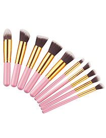 Fashion Pink+gold Color Geometry Decorated Color Matching Cosmetic Brush (10 Pcs)