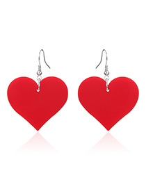 Fashion Red Heart Pendant Decorated Earrings