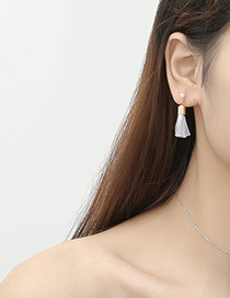 Fashion Gray Short Chain Decorated Earrings