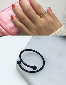 Fashion Black Pure Color Decorated Opening Ring