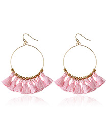 Bohemia Pink Tassle Decorated Round Earrings