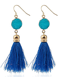 Bohemia Blue Long Tassle Decorated Earrings