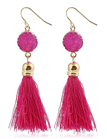 Bohemia Plum-red Long Tassle Decorated Earrings