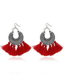 Bohemia Red Tassel Decorated Hollow Out Earrings