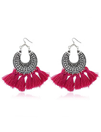 Bohemia Plum-red Tassel Decorated Hollow Out Earrings