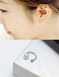 Fashion Silver Color Round Shape Decorated Opening Ear Clips