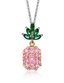 Lovely Pink Pineapple Shape Decorated Necklace