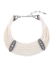 Elegant White Round Shape Decorated Mulitlayer Necklace
