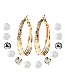 Fashion Gold Color Round Shape Decorated Earrings (7pair)