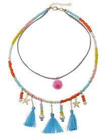 Fashion Multi-color Tassel Decorated Color Matching Pom Necklace