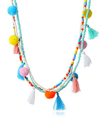 Fashion Multi-color Fuzzy Balls Decorated Color Matching Pom Necklace