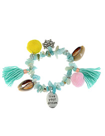 Fashion Green Shell&tassel Decorated Color Matching Bracelet