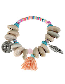 Fashion Pink Shell&leaf Decorated Color Matching Bracelet