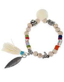 Fashion White Tassel&leaf Decorated Color Matching Bracelet